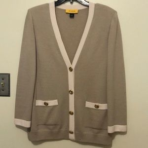 St. John sweater jacket taupe w/cream trim